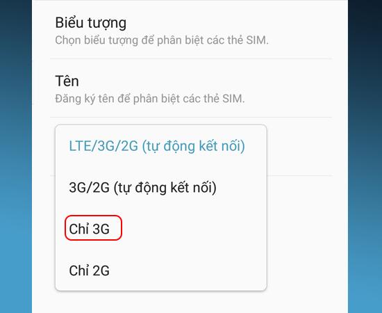 Bước 6: Cuối cùng bạn chọn Chỉ 3G.