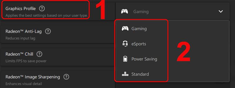 Các tùy chọn trong mục Graphics Profile