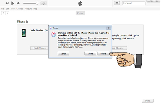 iTune thông báo Restore iPhone >> Restore