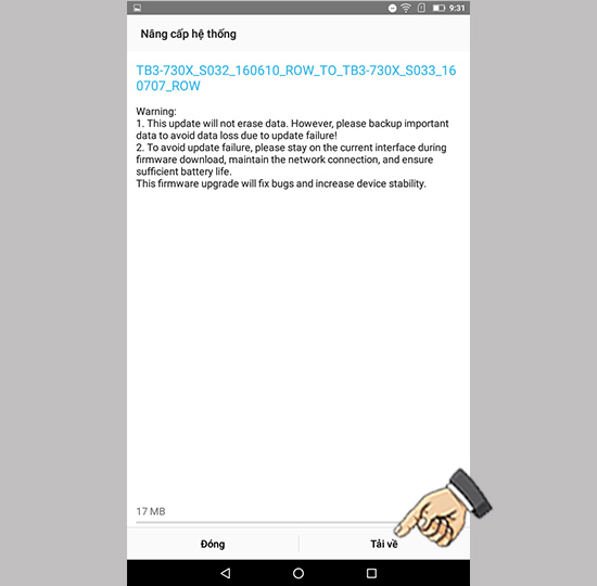 Cách nâng cấp hệ điều hành Lenovo Tab 3 Essential 16GB