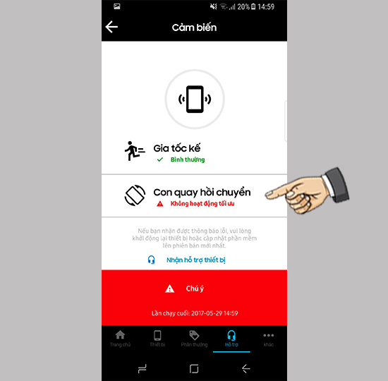 Kiểm tra cảm biến bằng app My Samsung trên Samsung Galaxy S8