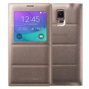 Ốp lưng - Flipcover điện thoại Bao da nắp gập S-view Galaxy Note 4 chính hãng Vàng đồng